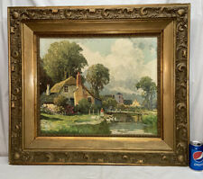 Vtg LARGE Victorian Style ORNATE Frame COTTAGE FLOWERS STREAM GEESE Litho Print