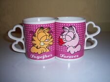"Garfield and Arlene kissing ""Together Forever"" twin novelty mugs Vintage"