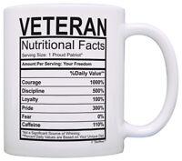 Veterans Day Gifts Veteran Nutritional Facts Proud Veteran Coffee Mug Tea Cup