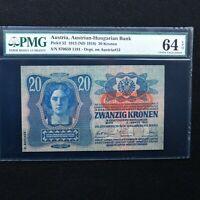 Austria 1913 (ND 1919) 20 Kronen Pick # 52, PMG 64 EPQ Choice Uncirculated