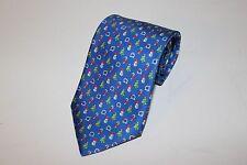 NWT Salvatore Ferragamo Christmas Tie Blue Logo Tree Snowman  Silk AUTHENTIC