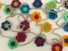 Bright Colours Crochet Daisy 20 Flower Garland Bunting Approx 3 metres long