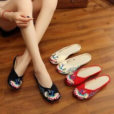 New Women Chinese Embroidered Flat Shoes Slippers Comfort Floral Cloth Shoes