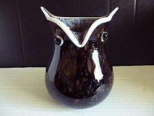 MURANO ART GLASS OWL PLANTER/VASE UNIQUE AMBER,GOLD ACCENT SPLATTER DECOR 6.5''