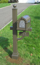 Gaines Keystone Mailbox, Deluxe Mail Box Post with cuff, Address Number Sign