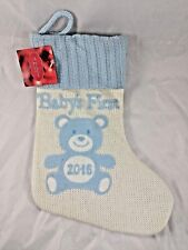 """Baby's First 1st Christmas Knit Stocking Blue 2016 14"""" St Nicholas Square Kohl's"""
