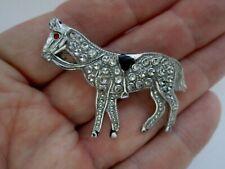 Vintage Charles Horner Style Staybrite Enamel Metal Horse Animal Brooch Pin