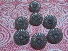 6 Vintage Glass Buttons Grey Iridescent Scrapbook Jewelry Quilt Craft Sew Knit