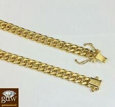 "Real 10k Yellow Gold Miami Cuban Bracelet 6mm 7.5"" Box Lock,Strong link,Unisex,N"