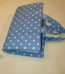 Book  Bag, Bible Cover, Blue polka dot Fabric with pearl beaded bookmark