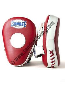 Sandee Leather Red & White Curved Focus Mitt Muay Thai MMA Boxing
