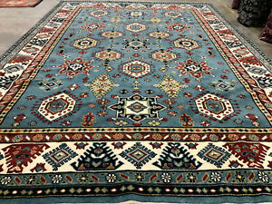 10x14 BLUE WOOL RUG HAND-KNOTTED light handmade geometric handwoven all over rug