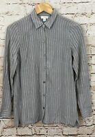 J Jill button down blouse shirt womens XS top gray stripe long sleeve rayon O8