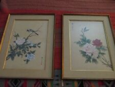 Pair of Chinese Bird Butterfly Botanical Paintings on Silk, Framed and Signed