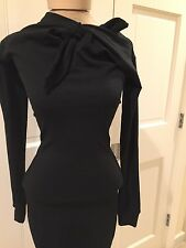 Romeo Gigli Black Dress vtg wool blend neck tie stretch Wiggle Euro Med US