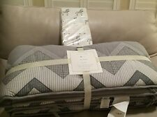 2pc POTTERY BARN KIDS Zachary Zebra crib  Bumper & fitted sheet Grey Gray