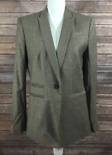 Ann Taylor NWT Womens 1 Button Pinstriped Blazer Suit Jacket 8 Beige Career B7