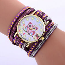 Fashion Owl Pattern Chimes Leather Bracelet Lady Womens Quartz Wrist Watch