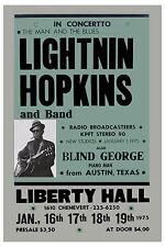 Blues: Lightnin' Hopkins at the Liberty Hall Theatre Concert Poster 1975
