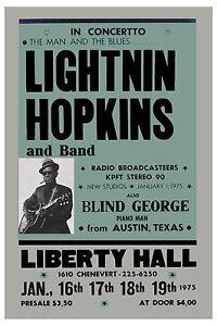 Blues: Lightnin' Hopkins at the Liberty Hall Theatre Concert Poster 1975  12x18