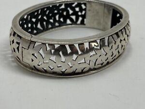 """VTG Signed ND 925 Sterling Hinged Bangle Bracelet carved 6.5"""".75""""  Wide 48g"""