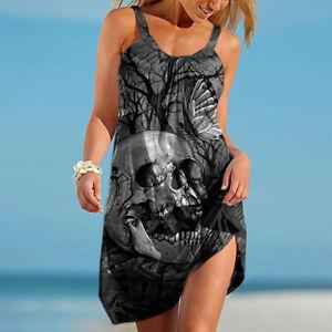 Damen Totenkopf Druck Trägerkleid Freizeit Sommerkleid Strandkleid Partykleid DE