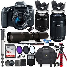 Canon EOS 77D DSLR Camera with (3) Lens Kit