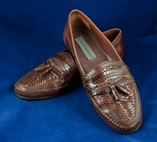 Stacy Adams 9.5 10 M Brown Woven Leather Slip-On Loafers Brazil 25349 Very Nice!