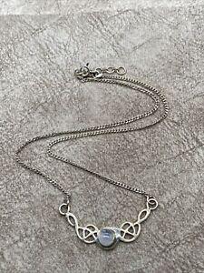 "Vintage 925 Sterling Silver Filigree Scroll Moonstone Cab Pendant Necklace 16"""