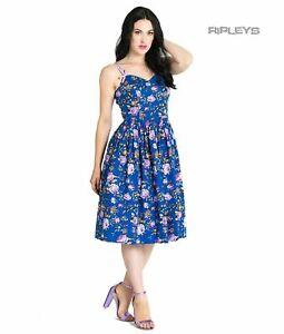 Hell Bunny Vintage 50s Knee Length Dress VIOLETTA Floral Blue XS 8