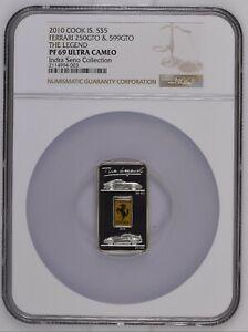 Cook Islands 2010 FERRARI The Legend GT PF69 NGC HIGHEST GRADE Silver Coin Bar
