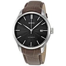 Mido Belluna II Automatic Black Dial Mens Leather Strap Watch M0244071606100