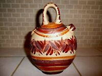 Mexican Folk Art Pottery Handmade Painted Pulque Pitcher Signed Mexico