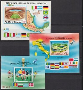 Rumänien Block 226+260+262 postfr./mnh Fußball soccer 1986/1990