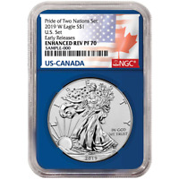 2019-W Reverse Proof $1 American Silver Eagle Pride of Two Nations U.S. Set NGC