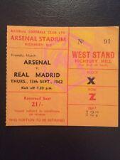 Billete: Arsenal V Real Madrid 13/09/1962