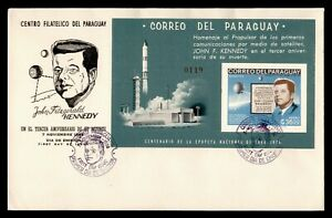 DR WHO 1966 PARAGUAY FDC JOHN F KENNEDY JFK SPACE IMPERF S/S  g02259