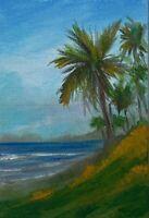 "6 x 4 ORIGINAL ACRYLIC ""PALM SEASCAPE"" ART PAINTING CANVAS BOARD ACEO ARTIST"