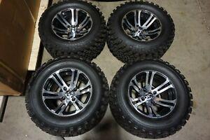 "12"" 12x7 4x101.6 Golf Cart Black Machined Wheels Rims 23""x10.5""-12 Tires Lifted"