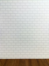 Dollhouse Miniature White Subway Metro Wall Tile Textured Gloss Paper 1:12 Scale