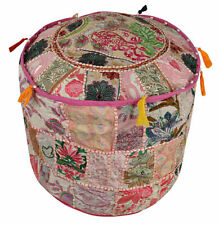 Indian Ottoman Pouffe Cotton Indian Throw Pillow Cover Patchwork