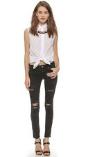 PAIGE Verdugo Ultra Skinny Jean in Black Ripped Wash Ramone Destructed sz 26