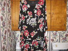 WOMENS DRESS SIZE 20W 1X XLARGE BLACK FLORAL RUFFLE DRESS RET. $78.00 NEW