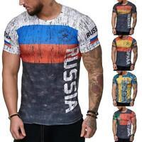 Letter Russia Sweden Portugal Germany Print Men Gym Sports Slim Fit T-Shirt