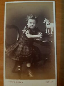 CDV Photo Pretty Girl Dress & Bow, Toy Horse, Davey & Brown of Dudley SS