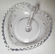 Imperial Candlewick Crystal Etched Heart Shaped Candy Dish with Open Handle