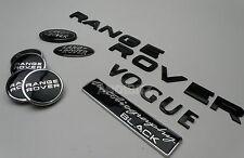 AUTOBIOGRAPHY BLACK RANGE ROVER VOGUE REAR BADGE & ALLOY WHEEL CENTRE CAPS SET