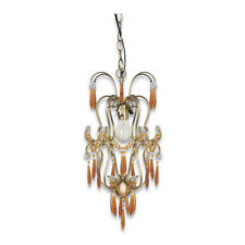 ANTIQUE BRASS AND CRYSTAL CHANDELIER/PENDANT