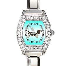 Basset Hound CZ Womens Stainless Steel Italian Charm Bracelet Wrist Watch BJ1072
