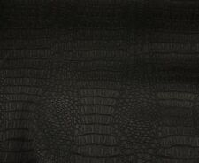 """Vinyl Faux Leather Black Matte Gator Upholstery Home Fabric 55"""" Wide"""